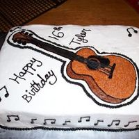 Guitar Cake For 16 Yr Old Boy Chocolate cake, butter cream icing and accents. Guitar is my first attempt at a fbctThanks to all the ccers who made guitar cakes for the...
