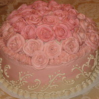 Pink Roses Birthday Cake Birthday cake for my sister. She loves buttercream, so I gave her a lot of it. It is 2-10 inch layers, and I put a 8 inch layer on top and...