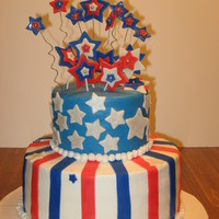 4Th Of July Birthday Birthday cake for a friend that was on the 4th of July. Buttercream with fondant accents. Wires in straws.
