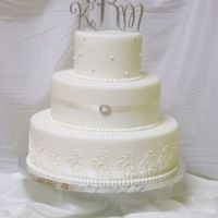 All White Cake  This is one of my display cakes, but I love the clean lines and all white finish. I think the ribbon with the rhinestone accent makes it a...