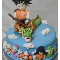 Dragon Ball Cake A Dragon Ball cake featuring Goku, and on the lateral details Krillin, Bulma, Master Roshi, Yamcha, Oolong and Puar.Everything made with...