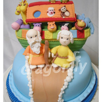 Noah's Ark Cake An all edible Noah's Ark themed cake (the cake is covered with fondant, the decoration and figures are made with gumpaste and the Ark...
