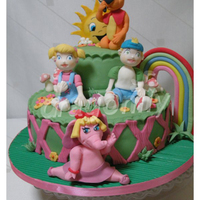 Xuxinha And Her Gang A cake with brazilian characters (Xuxinha and her gang) made for a little girl. All made with gumpaste.
