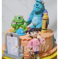 Monsters Inc Cake A Monsters Inc themed cake with gumpaste figures of Mike, Sully and Boo.