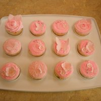 Pretty In Pink WASC cupcakes with almond buttercream, all decorations made from MMF.
