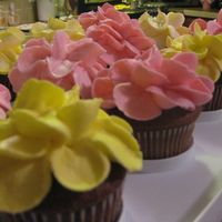 Cupcakes Chocolate Cupcakes with Buttercream Frosting & Bavarian Cream Filling. I made the flowers by using a Wilton tip #127 starting on the...