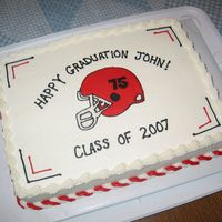 Simple Graduation Sheet Cake Our school colors are red, black and white. Customer wanted a football helmet with his number on it. She was happy with it. :) Helmet is a...