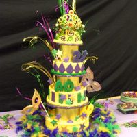 Mardi Gras Birthday Cake Celebrating Birthdays for 3 generations. Masks are made out of gumpaste and painted with lusterdust.