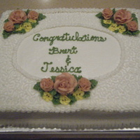For The Bride Bridal shower cake, all buttercream with lace and white pearl beads. TFL
