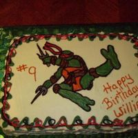 Raphael Teenagemutant Turtle   Buttercream frsoing. I added food color to the cake to make it green when you cut into it..