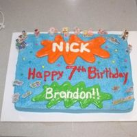 Nick Jr Cake   couldn't find toppings so I laminated stickers for this nick jr themed cake.