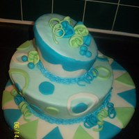 """fake"" Cake First :)   My first ""Fake"" Cake.. was very hard to get the fondant on there.. kept tearing. Inspiration from SugarEd Productions"