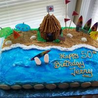Surfing Cake  I borrowed this idea from some cakes I saw here. TY..Buttercream frosting, piping gel water, graham cracker beach, fondant feet sticking...