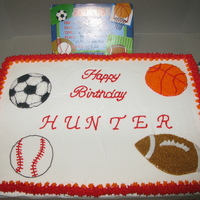 Sports Galore! Used the invitation as guide. For a young sports enthusiast. All buttercream.