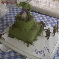 Incredible Hulk Birthday boy was obsessed with Hulk! Rocks make of fondant and crumbled oreos. TFL!