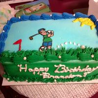Golfer ice cream cake, done with frozen bc transfer...this one was a pain as there were little details.