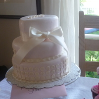 1St Holy Communion This was for a friend's daughter who made her 1st Holy Communion. Very pale pink and pearl painted fondant.