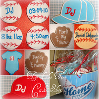 Baseball Cookies Cookies I made for a friend who just had a baby boy. I did assorted baseball theme cookies: hat, glove, baseball, onesie, etc. All cookies...