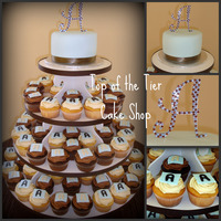 """a"" Baby Shower Cake And Cupcakes 6 inch cake topper vanilla w/ dulce de leche filling covered in fondant. ""A"" topper provided by mom-to-be's friend. 100..."