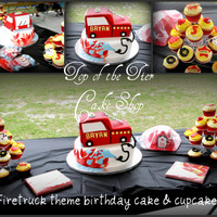 Fire Truck Cake And Cupcakes Firetruck cake and cupcakes. Bottom is vanilla w/ dulce de lech filling covered in fondant and top (firetruck is chocolate with mocha chip...
