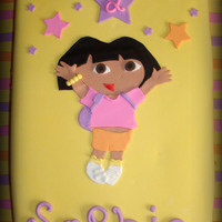 Dora Birthday Cake Another very large cake full sheet, vanilla w/ dulce de leche filling covered in fondant. I made of template of Dora and cut her out with...