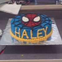 Spiderman!!! This Spiderman cake was actually made for a little girl that loved spiderman.. I used BC icing and MMF for Spiderman's face and eyes...