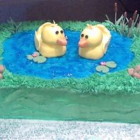 Twin Boys Baby Shower This was made for a woman who was having TWIN boys!!! Their theme was rubber duckies and that is what she wanted. 9x13 sheet cake iced in...