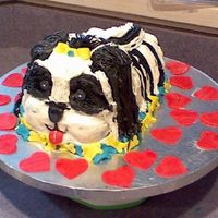 Dog Cake This dog cake was made for my sister's 36th birthday... It is SUPPOSED to look like a Shih Tzu dog . She has 3 of them and no children...