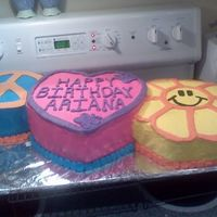 Peace, Love, Happiness I made this cake for my daughter 7th birthday ... She is a true Hippie loves tie dye and the peace love and happiness saying.....So she...