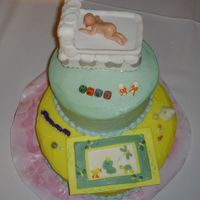 "Froggy Tales Well here is my first baby shower cake=) It is based of the ""Froggy Tales"" bedroom set. The mom-to-be chose not to know the baby..."