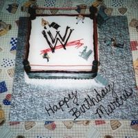 Wrestling Ring Cake Chocolate cake with buttercream icing. The posts are dowls and fondant painted with buttercream.