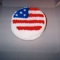 "Birthday Cake For 1 Year Old This is a personal 3"" round cake for a 1 year old baby who had a birthday around the 4th of july. The parents wanted it red, white and..."