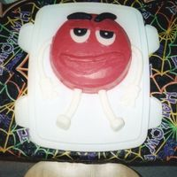 Red M&m Character  This is a father's day cake since my dad is a huge fan of the M&M guys. He love's the commercials. The cake is iced in...