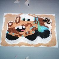 Tow Mater This was a cake for a friends son for his 3rd birthday. I used a template that I made to cut out the basic shape of the cake and then iced...