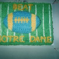 Tailgating Party Cake   This is a half sheet cake with a football cake on top for a tailgating party. The cake is chocolate with buttercream icing.