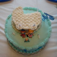 "Baby Shower Cakes I made this for my daughter's baby shower. Made a 2-cake box WASC cake & poured into one 6"" pan and two 10"" pans. Dug..."