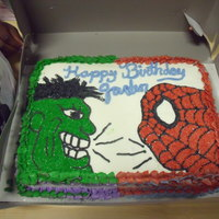 Hulk Vs. Spiderman My 2nd freehand drawn cake. Got the idea from BrendBTC here on CC. Still need to work on filling in the stars., but not too bad for someone...