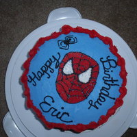 Spiderman Funfetti cake with buttercream frosting. Inspired by cake from Tasha27.