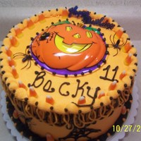 Halloween Birthday chocolate with buttercream and candycorn