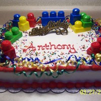 Buttercream,sheet Cake,curling Ribbon,legos