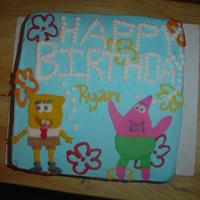 Sponge Bob Cake is Bc Icing and Fondant made sponge bob and patrick