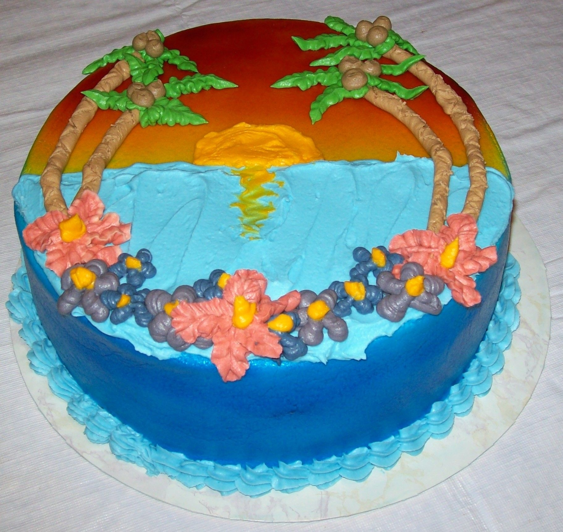 Hawaii Five-O, The Beach At Sunset The cake is actually Macsmom's Hawaii Five-O pineapple cake with banana creme, coconut creme, and mango filling, so I thought it only...