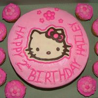 "Hello Kitty 10"" round iced in butter cream. Chocolate Transfer Hello Kitty. TFL"