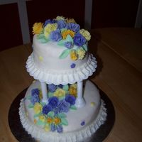 100_3522.jpg This is my first tiered cake. It is the finale cake for my Wilton course 3 class. I decided to go with different shades of purple and...