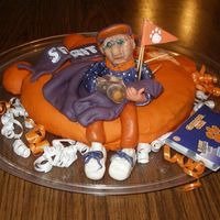 Another View Of Clemson Cake My fathers 76 birthday with a caricature of him posing as a clemson fan.