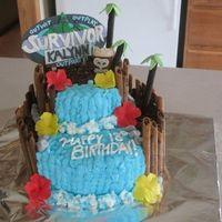 N1278009054_1202541_77080641.jpg This was a Survivor Theme Birthday cake. The Logo was made of gumpaste with piped writing, the tiki guy and rocks are made of fondant, the...