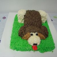 Puppy Dog Cake With the help of a tutorial from justfrosting....I came up with this puppy for my nephew's 1st b-day! I made a small bone for his...