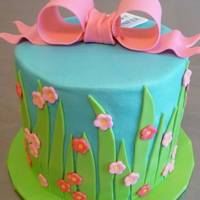 Springtime Birthday blue buttercream with mmf decorations