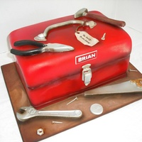 Tool Box Cake And Tools 12 year old girl had saved up her money to have me make her Dad a cake for his birthday! He installs stone & does carpentry work. Tool...