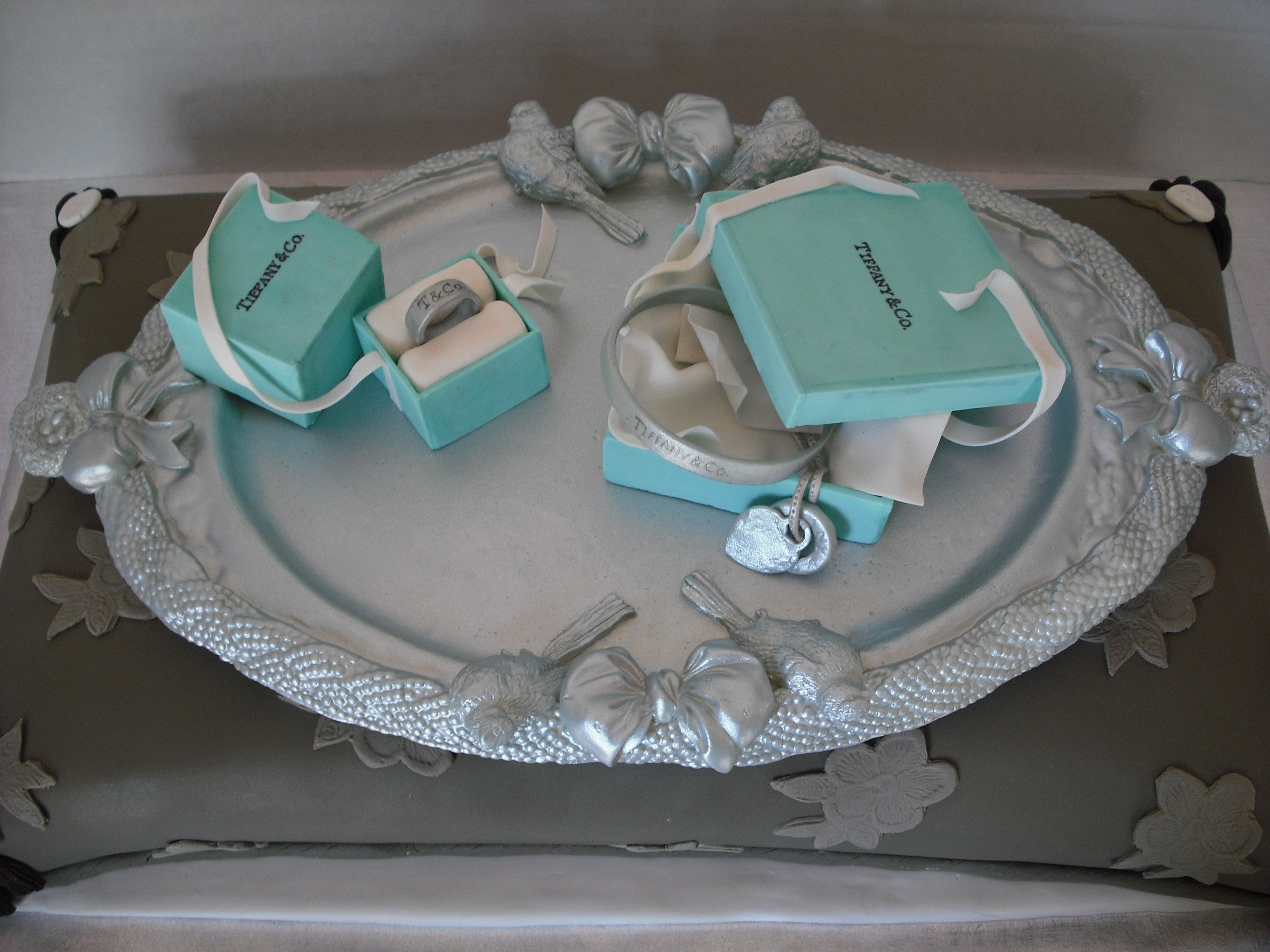 """tiffany"" Jewelry Birthday Cake Birthday Calke for a very sophisticated 16 year old girl.Requested a few ""Tiffany "" boxes with jewelry on a lt. brown pillow...."
